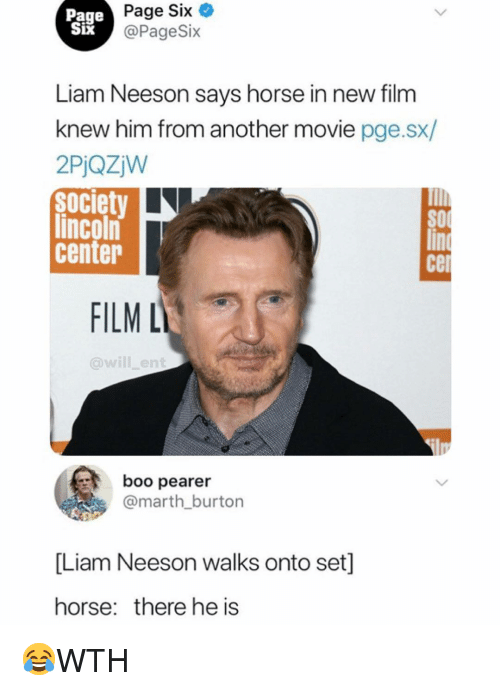 Cel: Page  Six  IX  Page Six  @PageSix  Liam Neeson savs horse in new film  knew him from another movie pge.sx/  2PjQzjW  Society  lincoln  center  cel  FILM L  @will_ent  boo pearer  @marth burton  [Liam Neeson walks onto set]  horse: there he is 😂WTH