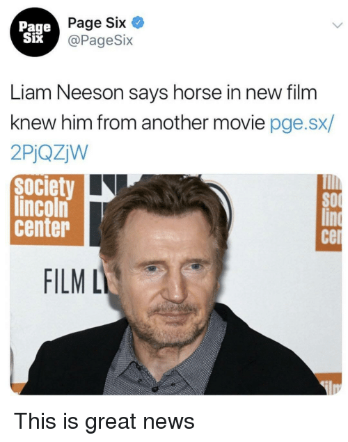 Liam Neeson, News, and Horse: Page  Six  Page Six  @PageSix  Liam Neeson says horse in new film  knew him from another movie pge.sx/  2PjQZW  society  lincoln  center  SO  cer  FILML This is great news