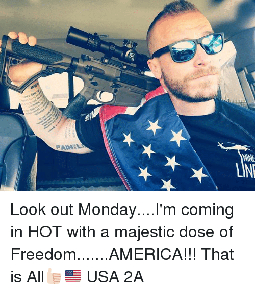 Freedomed: PAIN:LI  LINE Look out Monday....I'm coming in HOT with a majestic dose of Freedom.......AMERICA!!! That is All👍🏻🇺🇸 USA 2A