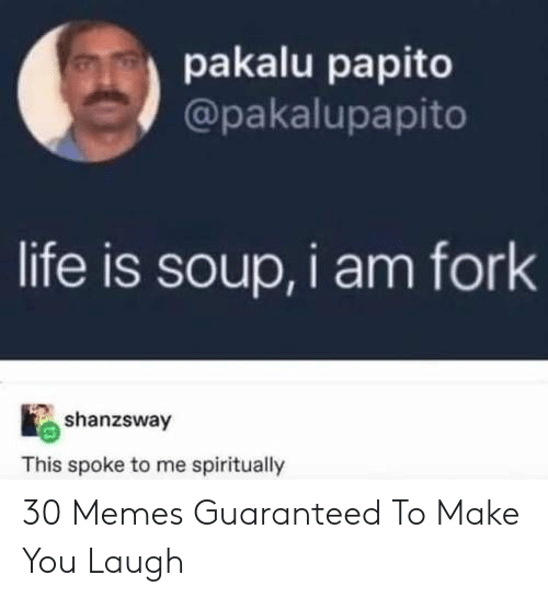 papito: pakalu papito  @pakalupapito  life is soup, i am fork  shanzsway  This spoke to me spiritually 30 Memes Guaranteed To Make You Laugh