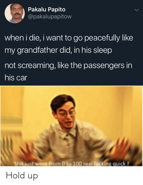 papito: Pakalu Papito  @pakalupapitow  when i die, i want to go peacefully like  my grandfather did, in his sleep  not screaming, like the passengers in  his car  Shit just went from 0 to 100 real fucking quick! Hold up