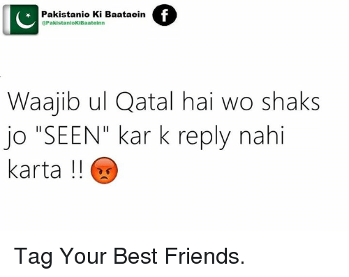 "shak: @PakistanioKiBaateinn  Baataein  f  Pakistanio Ki IC  Waajib ul Qatal hai wo shaks  jo ""SEEN"" kar k reply nahi  karta Tag Your Best Friends."
