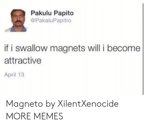 Pakulu Papito: Pakulu Papito  @PakaluPapitio  if i swallow magnets will i become  attractive  April 13 Magneto by XilentXenocide MORE MEMES