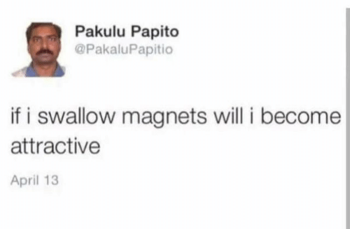 April, Will, and Swallow: Pakulu Papito  @PakaluPapitio  if i swallow magnets will i become  attractive  April 13