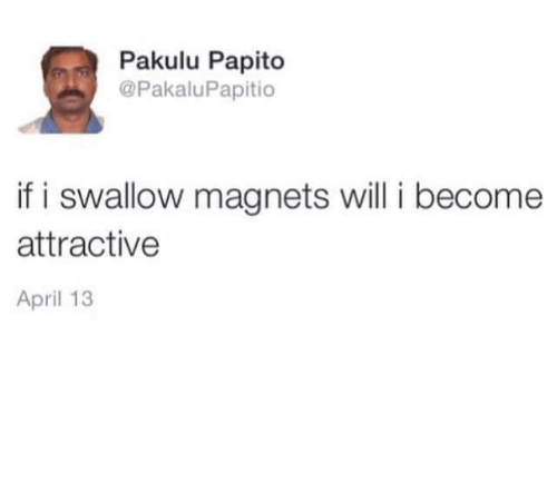 Pakulu Papito: Pakulu Papito  @PakaluPapitio  if i swallow magnets williI become  attractive  April 13