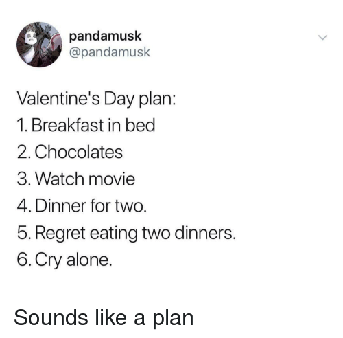 Being Alone, Regret, and Valentine's Day: pandamusk  @pandamusk  Valentine's Day plan  1. Breakfast in bed  2. Chocolates  3. Watch movie  4. Dinner for two  5. Regret eating two dinners  6.Cry alone Sounds like a plan