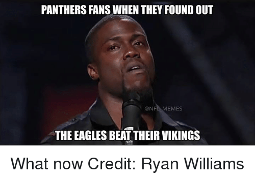 the eagle: PANTHERS FANSWHEN THEY FOUND OUT  ONF  EMES  THE EAGLES BEAT THEIR VIKINGS What now Credit: Ryan Williams