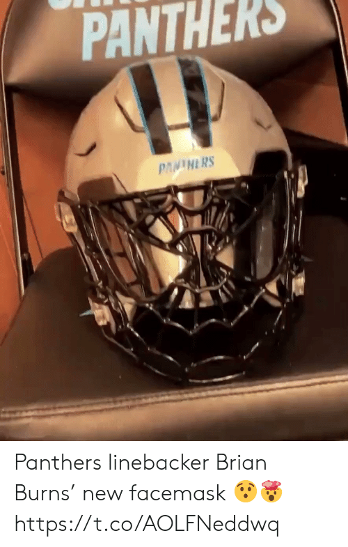 Burns: PANTHERS  PANINERS Panthers linebacker Brian Burns' new  facemask 😯🤯 https://t.co/AOLFNeddwq