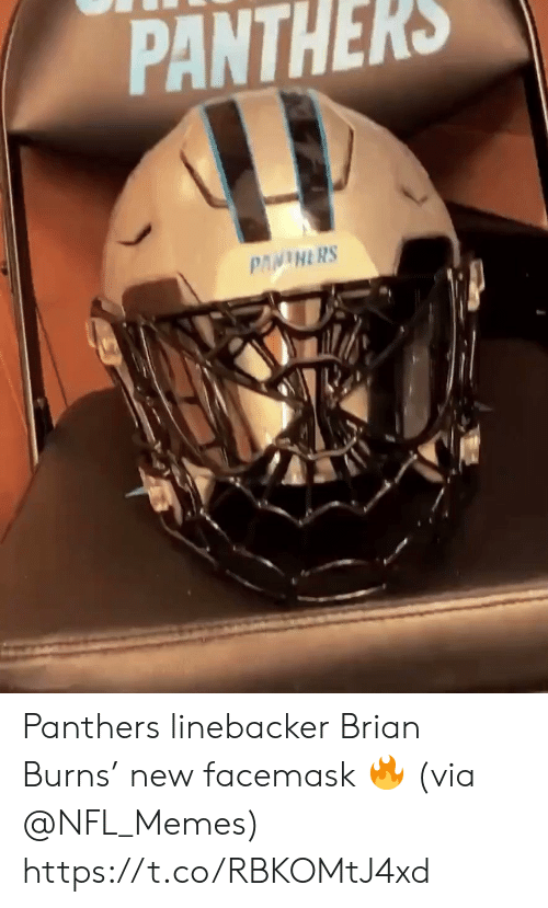 Burns: PANTHERS  PANINERS Panthers linebacker Brian Burns' new facemask 🔥 (via @NFL_Memes) https://t.co/RBKOMtJ4xd