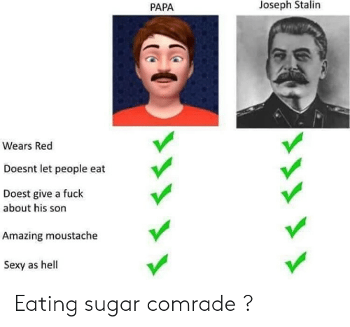 moustache: PAPA  Joseph Stalin  Wears Red  Doesnt let people eat  Doest give a fuck  about his son  Amazing moustache  Sexy as hell Eating sugar comrade ?