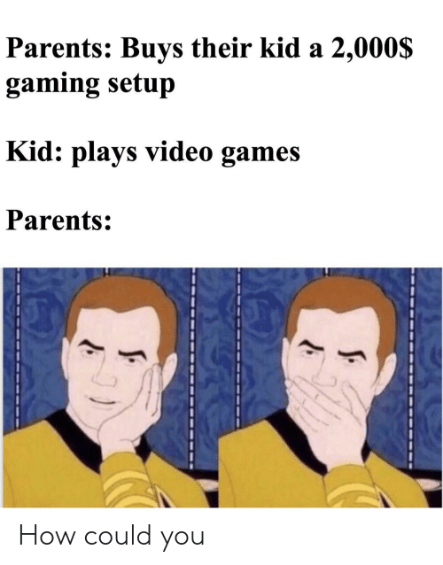 Parents, Video Games, and Games: Parents: Buys their kid a 2,000$  gaming setup  Kid: plays video games  Parents:  J: How could you