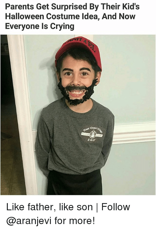 Coa: Parents Get Surprised By Their Kid's  Halloween Costume Idea, And Now  Everyone ls Crying  Bast Coa  & Grir Like father, like son | Follow @aranjevi for more!