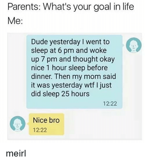Dude, Life, and Parents: Parents: What's your goal in life  Me:  Dude yesterday I went to  sleep at 6 pm and woke  up 7 pm and thought okay  nice 1 hour sleep before  dinner. Then my mom said  it was yesterday wtf I just  did sleep 25 hours  12:22  Nice bro  12:22 meirl