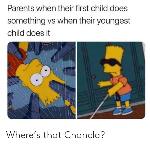 First Child: Parents when their first child does  something vs when their youngest  child does it Where's that Chancla?