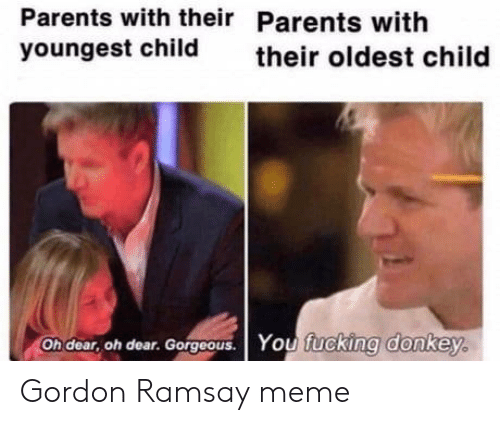 Donkey: Parents with their Parents with  youngest child  their oldest child  Oh dear, oh dear. Gorgoous. You fucking donkey. Gordon Ramsay meme