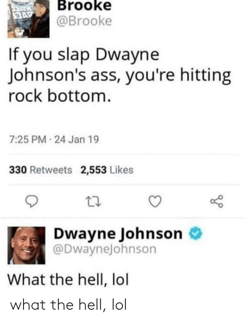 Ass, Dwayne Johnson, and Lol: PARTC  Brooke  @Brooke  3AP  If you slap Dwayne  Johnson's ass, you're hitting  rock bottom  7:25 PM-24 Jan 19  330 Retweets 2,553 Likes  Dwayne Johnson  @DwayneJohnson  What the hell, lol what the hell, lol
