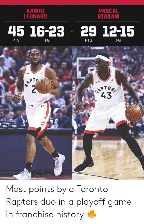 Leonard: PASCAL  SIAKAM  KAWHI  LEONARD  45 16-23 29 1215  PTS  FG  PTS  FG  PT  43 Most points by a Toronto Raptors duo in a playoff game in franchise history 🔥