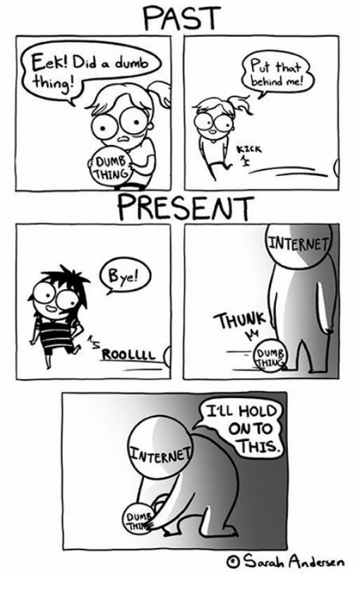 thunk: PAST  Eek! Did a dumb  Put that.  behind me!  thing!  KICK  OUM6  THING  PRESENT  INTERNET  Bye!  THUNK  ROOLILLL  DUMB  TLL HOLD  ONTO  THIS  NTERNE  DUM  Sarah Andersen