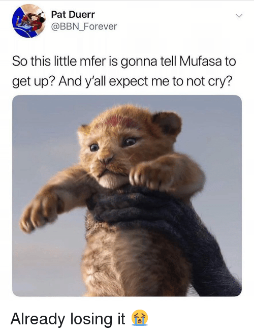 Memes, Mufasa, and Forever: Pat Duerr  @BBN Forever  So this little mfer is gonna tell Mufasa to  get up? And y'all expect me to not cry? Already losing it 😭