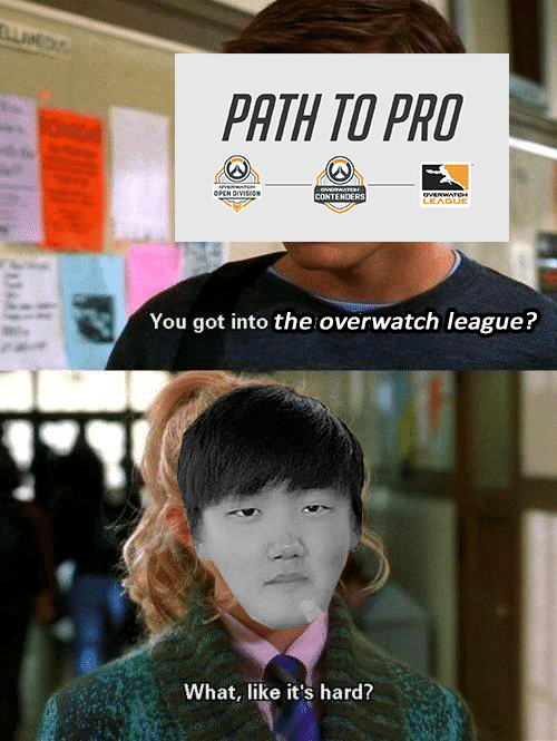 Pro, League, and Overwatch: PATH TO PRO  CONTE  TENOERS  LEAGUE  You got into the overwatch leaguei?  What, like it's hard?