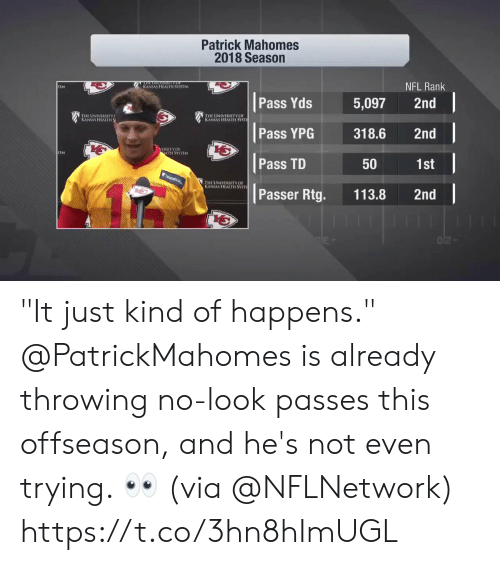 "Memes, Nfl, and 🤖: Patrick Mahomes  2018 Season  NFL Rank  KANSAS HEALTH SYSTLM  TEM  Pass Yds 5,097 2nd  寶1  THE UNIVERSITY  KANSAS HEALTH  HE UNIVERSITY OF  s HEALTH SYSTİ  Pass YPG318.6 2nd  b七  ERSITYOF  LTH SYSTEM  Pass TD  1st  50  HE UNIVERSITY OF  S HEALTH SYSTI  Passer Rtg. 113.8 2nd ""It just kind of happens.""  @PatrickMahomes is already throwing no-look passes this offseason, and he's not even trying. 👀 (via @NFLNetwork) https://t.co/3hn8hImUGL"
