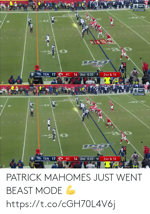went: PATRICK MAHOMES JUST WENT BEAST MODE 💪 https://t.co/cGH70L4V6j