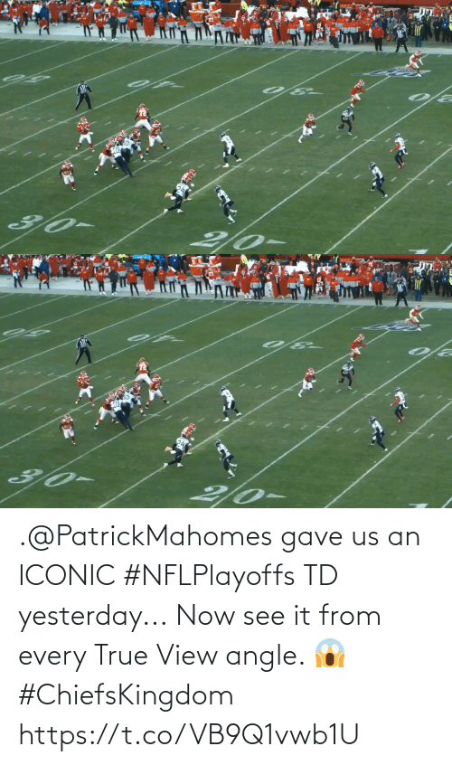 Iconic: .@PatrickMahomes gave us an ICONIC #NFLPlayoffs TD yesterday...  Now see it from every True View angle. 😱 #ChiefsKingdom https://t.co/VB9Q1vwb1U