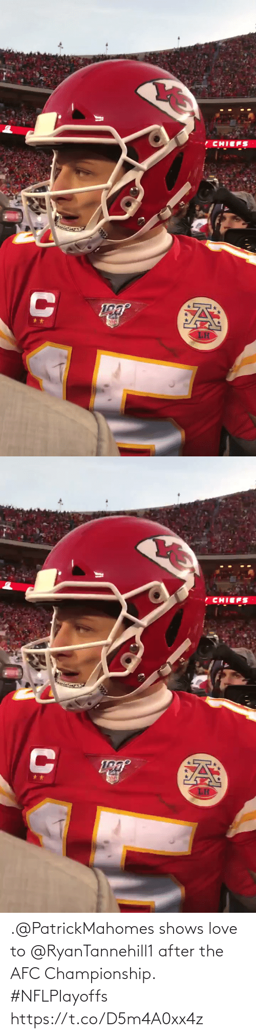 After The: .@PatrickMahomes shows love to @RyanTannehill1 after the AFC Championship. #NFLPlayoffs https://t.co/D5m4A0xx4z