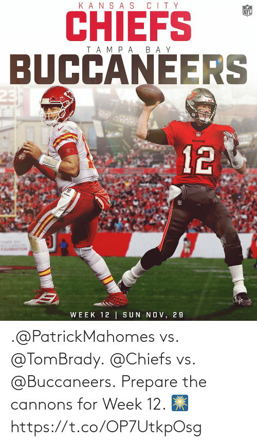 week: .@PatrickMahomes vs. @TomBrady. @Chiefs vs. @Buccaneers.  Prepare the cannons for Week 12. 🎆 https://t.co/OP7UtkpOsg