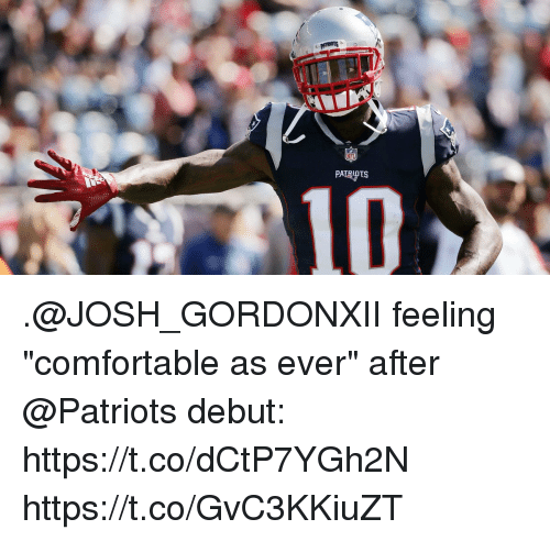"Comfortable, Memes, and Patriotic: PATRIOTS  310 .@JOSH_GORDONXII feeling ""comfortable as ever"" after @Patriots debut: https://t.co/dCtP7YGh2N https://t.co/GvC3KKiuZT"