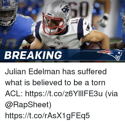 Memes, Patriotic, and Julian Edelman: PATRIOTS  BREAKING Julian Edelman has suffered what is believed to be a torn ACL: https://t.co/z6YlllFE3u (via @RapSheet) https://t.co/rAsX1gFEq5