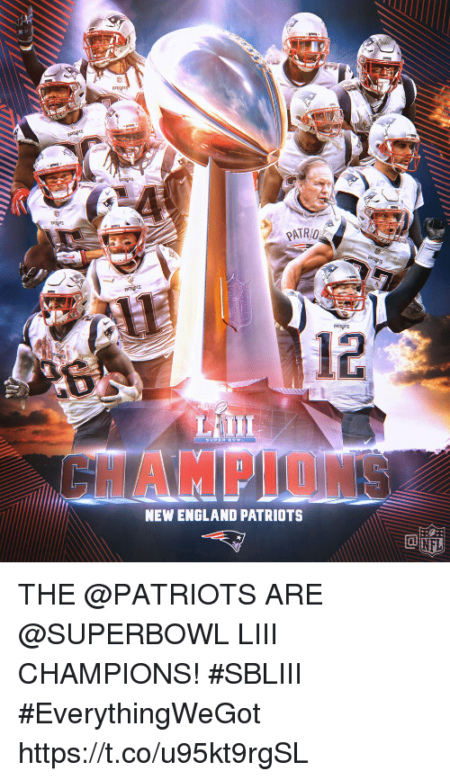 England, Memes, and New England Patriots: PATRO  12  SUPUR BOWL  HAMPLON  NEW ENGLAND PATRIOTS THE @PATRIOTS ARE @SUPERBOWL LIII CHAMPIONS! #SBLIII #EverythingWeGot https://t.co/u95kt9rgSL