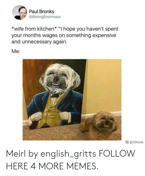 """Hopely: Paul Bronks  @BoringEnormous  *wife from kitchen* """"I hope you haven't spent  your months wages on something expensive  and unnecessary again.  Me:  @22Words Meirl by english_gritts FOLLOW HERE 4 MORE MEMES."""
