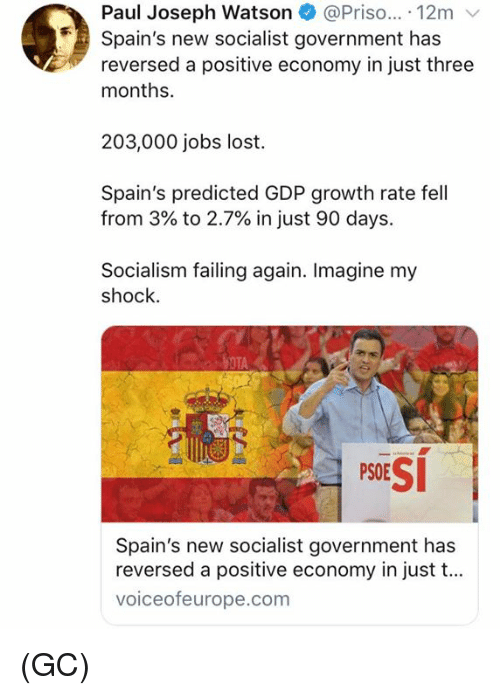 7 In: Paul Joseph Watson @Priso... 12m v  Spain's new socialist government has  reversed a positive economy in just three  months.  203,000 jobs lost.  Spain's predicted GDP growth rate fell  from 3% to 2.7% in just 90 days.  Socialism failing again. Imagine my  shock.  PSESİ  Spain's new socialist government has  reversed a positive economy in just t...  voiceofeurope.com (GC)