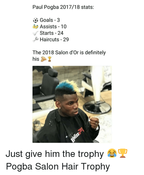 paul pogba: Paul Pogba 2017/18 stats:  Goals -3  Assists 10  Starts - 24  o Haircuts - 29  The 2018 Salon d'Or is definitely  his Just give him the trophy 😂🏆 Pogba Salon Hair Trophy