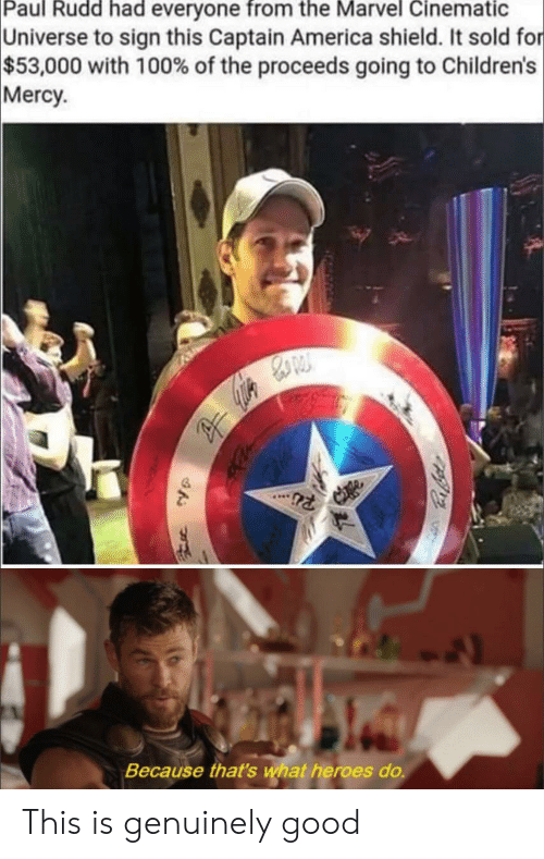 America, Wat, and Good: Paul Rudd had everyone from the Marvel Cinematic  Universe to sign this Captain America shield. It sold for  $53,000 with 100% of the proceeds going to Children's  Mercy  Because that's wat heroes do. This is genuinely good