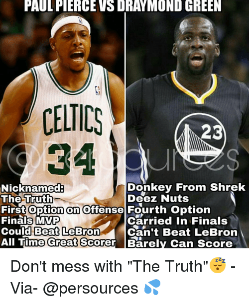 "Deez Nuts: PAULFIERCEVSDRAYMOND GREEN  CELTICS  23  Donkey From Shrek  Nicknamed  The Truth  Deez Nuts  First option on offense Fourth option  Finals MVP  Carried in Finals  Could Beat LeBron  Can't Beat LeBron  All Time Great Scorer Barely Can score Don't mess with ""The Truth""😴 - Via- @persources 💦"