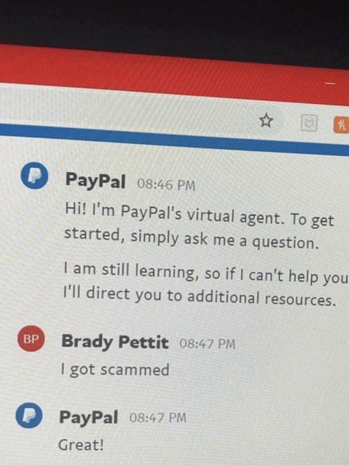 Paypal: PayPal 08:46 PM  Hi! I'm PayPal's virtual agent. To get  started, simply ask me a question.  I am still learning, so if I can't help you  I'll direct you to additional resources.  Brady Pettit 08:47 PM  I got scammed  BP  PayPal o8:47 PM  Great!