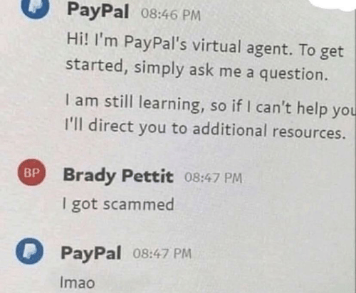 Paypal: PayPal 08:46 PM  Hi! I'm PayPal's virtual agent. To get  started, simply ask me a question.  I am still learning, so if I can't help you  I'll direct you to additional resources.  BP Brady Pettit 08:47 PM  I got scammed  PayPal 08:47 PM  Imao