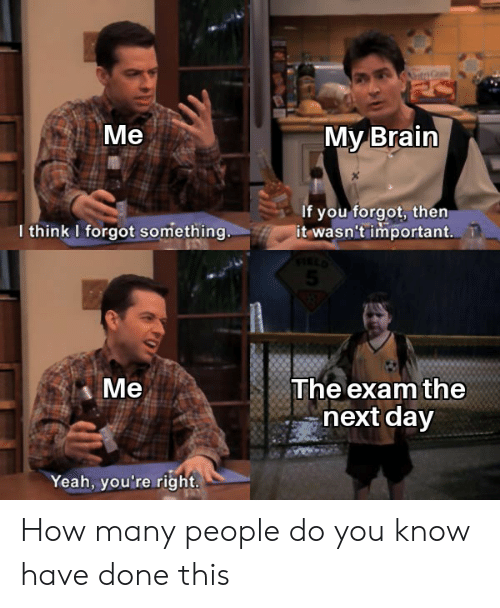 Yeah, Brain, and How: PC  Ме  Мy Brain  If you forgot, then  it wasn't important  I think I forgot something.  Ме  The exam the  next day  Yeah, you're right. How many people do you know have done this