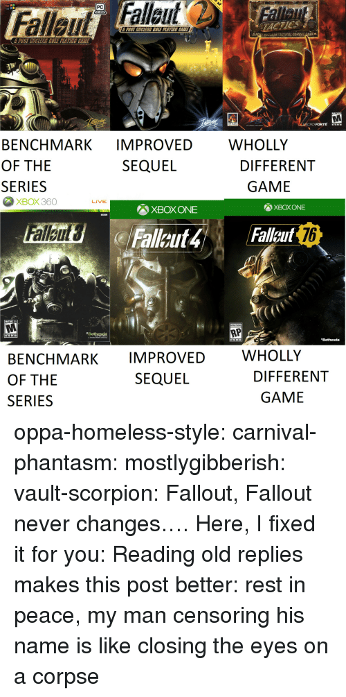 Scorpion: PC  TACTICS  POST MUGLEAR COLE PLAVINE CEME  A  uv-EAR TACTICAL COMB  Ee  MATURE  RO FORTE ERE  WHOLLY  BENCHMARK IMPROVED  OF THE  SERIES  SEQUEL  DIFFERENT  GAME  XBOX360  LIVE  XBOX ONE  XBOX ONE  76  MATURE 17+  RP  Bethesda  Bethesda  WHOLLY  BENCHMARK IMPROVED  OF THE  SERIES  SEQUEL  DIFFERENT  GAME oppa-homeless-style: carnival-phantasm:  mostlygibberish:  vault-scorpion: Fallout, Fallout never changes…. Here, I fixed it for you:  Reading old replies makes this post better: rest in peace, my man   censoring his name is like closing the eyes on a corpse