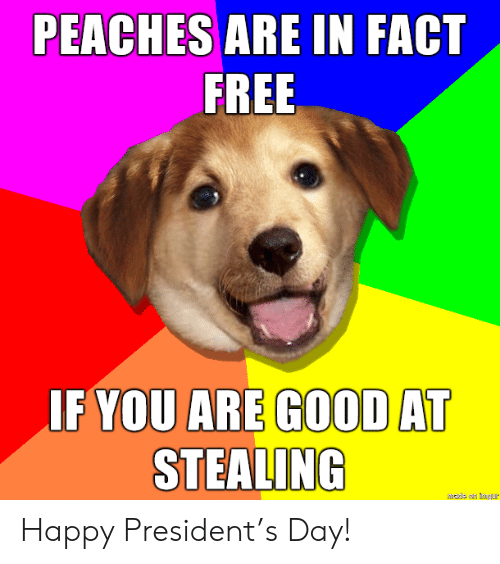 Good At: PEACHES ARE IN FACT  FREE  IF YOU ARE GOOD AT  STEALING  hade an mgur Happy President's Day!