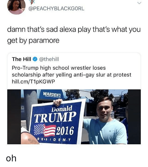 Donald Trump, Memes, and Protest: @PEACHYBLACKGORL  damn that's sad alexa play that's what you  get by paramore  The Hill e》 @thehill  Pro-Trump high school wrestler loses  scholarship after yelling anti-gay slur at protest  hill.cm/T1pKGWP  WARDENS  Donald  TRUMP  2016 oh
