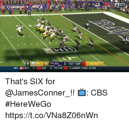 Memes, Nfl, and Cbs: Peang Imgact Foundatio  3  [..SE  Foundation NFL  P0BAL 3 1ST 1:09 3 3RD & 5  KC-  7  CLE  3  1ST 2:39  J. LANDRY: 2 REC, 22 YDS  NFL That's SIX for @JamesConner_!!  📺: CBS #HereWeGo https://t.co/VNa8Z06nWn