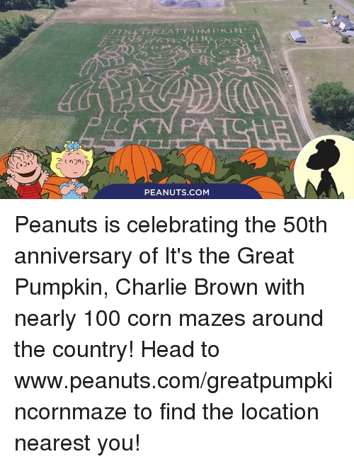 Charlie, Head, and Memes: PEANUTS COM Peanuts is celebrating the 50th anniversary of It's the Great Pumpkin, Charlie Brown with nearly 100 corn mazes around the country! Head to www.peanuts.com/greatpumpkincornmaze to find the location nearest you!
