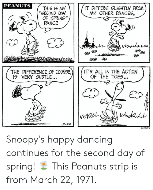 "Dancing, Memes, and Happy: PEANUTS  ""SECOND DAY  .DANCE  THIS IS M4  OF SPRING'""  IT DIFFERS SLIGHTLY FROM  MY OTHER DANCES.  酿卵  THE DIFFERENCE,OF COURSE,  IT's ALL IN THE ACTION  OF THE TOES..  IS VERY SUBTLE.  3-22  © PNTS Snoopy's happy dancing continues for the second day of spring! 🌼 This Peanuts strip is from March 22, 1971."