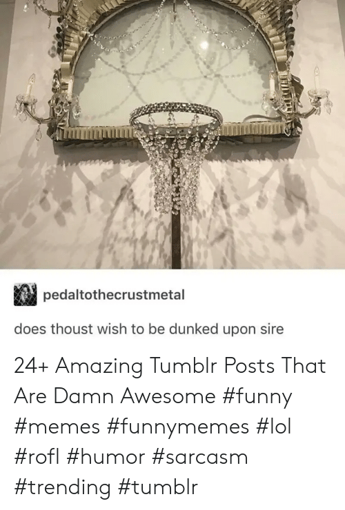 Sarcasm: pedaltothecrustmetal  does thoust wish to be dunked upon sire 24+ Amazing Tumblr Posts That Are Damn Awesome #funny #memes #funnymemes #lol #rofl #humor #sarcasm #trending #tumblr