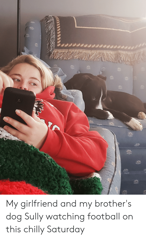 Football, Girlfriend, and Dog: peeeeetu#eraenerrat My girlfriend and my brother's dog Sully watching football on this chilly Saturday