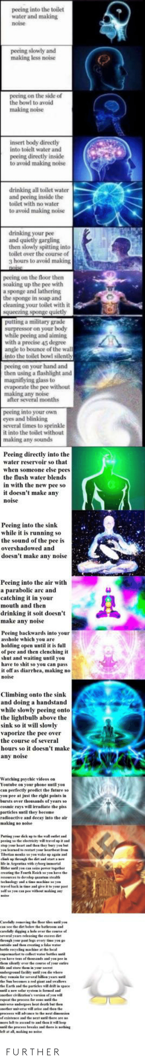 Climbing, Drinking, and Fake: peeing into the toilet  water and making  noise  peeing slowly and  making less noise  peeing on the side of  the bowl to avoid  making noise  insert body directly  into toielt water and  peeing directly inside  to avoid making noise  drinking all toilet water  and peeing inside the  toilet with no water  to avoid making noise  drinking your pee  and quietly gargling  then slowly spitting into  toilet over the course of  3 hours to avoid making  peeing on the floor then  soaking up the pee with  a sponge and lathering  the sponge in soap and  cleaning your toilet with it  a military grade  while peeing and aiming  with a precise 45 degree  angle to bounce of the wal  into the toilet bowl silenth  peeing on your hand and  then using a flashlight and  magnifiying glass to  evaporate the pee without  making any noise  after several months  peeing into your oWn  eyes and blinking  several times to sprinkle  it into the toilet without  making any sounds  Peeing directly into the  water reservoir so that  when someone else pees  the lush water blends  in with the new pee so  it doesn't make any  noi  Peeing into the sink  while it is running so  the sound of the pee is  overshadowed and  doesn't make any noise  Peeing into the air with  a parabolic arc and  catching it in your  mouth and then  drinking t st doesn't  make anv noise  Peeing backwards into your  asshole which you are  holding open until it is full  of pee and then clenching it  shut and waiting until you  have to shit so you can pass  noise  Climbing onto the sink  and doing a handstand  while slowly peeing onto  the lightbulb above the  sink so it will slo  vaporize the pee over  the course of several  hours so it doesn't make  any noise  Watching psyehic videes on  Youtube on your phone until you  can perfectly predict the feture so  you pee at just the right points in  barsts over thousands of  cosmic rays will irradiate the piss  particles until they become  radioactive and 