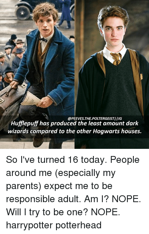 hogwarts houses: @PEEVES THE POLTERGEISTIIIG  Hufflepuff has produced the least amount dark  wizards compared to the other Hogwarts houses. So I've turned 16 today. People around me (especially my parents) expect me to be responsible adult. Am I? NOPE. Will I try to be one? NOPE. harrypotter potterhead